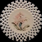 Atterbury Lattice Edge Milk Glass Plate with formal pattern