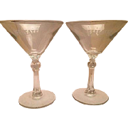 Martini glasses etched Beefeater London Dry Gin