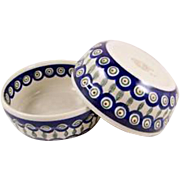 Traditional Peacock Patterned  Polish Pottery Mixing  Bowl