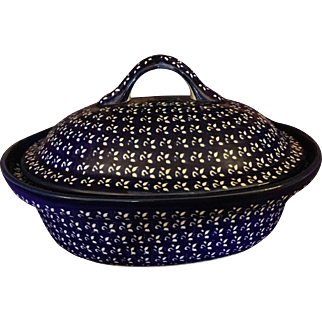 Polish Pottery Oval Casserole Dish From Zaklady