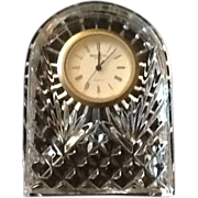 Waterford Crystal Desk, Mantel or Side Table Clock  Signed