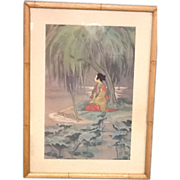 Lithograph  Girl Under the Willow by Cyrus Baldridge