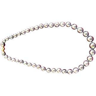 "STUNNING MIKIMOTO~ 19"" graduated black south sea pearls 18kt diamond clasp. Appraisal $27,800."