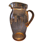Pink Etched Depression Glass Lemonade Pitcher