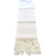 Large Heavy Linen Monogrammed FM Show Towel with Hand Knotted Fringe