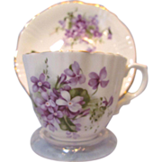 Violets Cup and Saucer, Hammersley Bone China