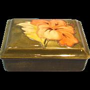 Moorcroft Coral Hibiscus Trinket or Dresser Box on Olive Background