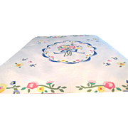 Applique Quilt With Floral Motifs Hand Stitched and Quilted