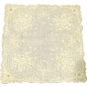 Beautiful Heavily Embroidered Linen Bridal Handkerchief