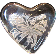 Baccarat Intaglio Heart Paperweight Signed Rene Fuller
