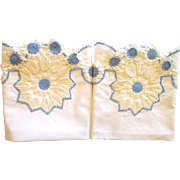 Vintage Pillowcases with Wide Blue and White Crocheted Trim