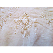 Italian Linen Tablecloth,12 Napkins Hand Embroidered