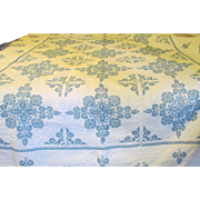 1940s Blue and White Cross Stitched Snowflake Quilt Heavily Quilted