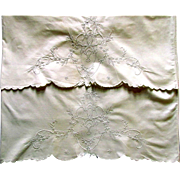 Vintage Whitework Pillowcases Floral Embroidery
