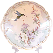 """Hand Painted 12"""" Dresser Tray with Hummingbird Signed"""