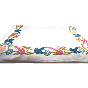 French Linen Table Runner With Point de Beauvais Embroidery