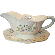 Shelley Blue Rock Dainty Shape Gravy Boat and Stand
