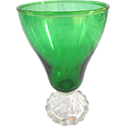 Eight Anchor Hocking Forest Green Burple Bubble Foot Water Goblets