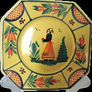 "HB Quimper Octagonal Soleil Lady 7 1/2"" Plate"
