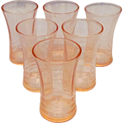 Six Pink Depression Glass Shot Glasses