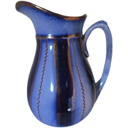 Flow Blue and Copper Lustre Wagon Wheel Water Pitcher