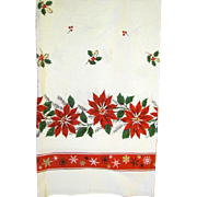 Mid Century Graphic Sailcloth Cotton Tablecloth With Poinsettias 66 x 52