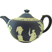 Wedgwood Jasper Cobalt Dip Teapot with Classical Mythology Scenes
