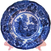 "Flow Blue Fairy Villas 10"" Dinner Plate by William Adams"