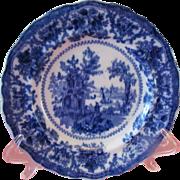 "Flow Blue Fairy Villas 8"" Salad Plate by William Adams"
