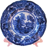 "Flow Blue Fairy Villas 9"" Flat Soup Bowl by William Adams"