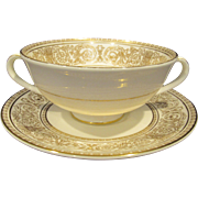 Royal Doulton Sovereign Cream Soup Bowl and Stand
