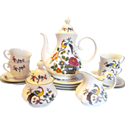 Seltmann W Germany Hand Painted Peacock 17 Pc Tea Set for Four