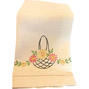 Vintage Hand Embroidered Linen Towel