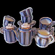 Antique Staffordshire Wagon Wheel Flow Blue Child's Tea Set 17 Pcs