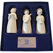 Royal Copenhagen Three Porcelain Musical Angels in Box