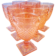 Eight Anchor Hocking Pink Miss America Water Goblets