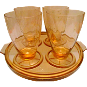Pink Depression Glass Drink Tray with Four Footed Tumblers