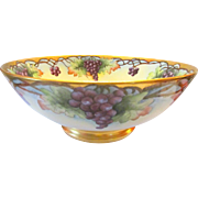 Limoges Hand Painted Grapes Gilded Punch Bowl