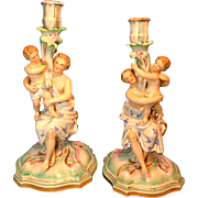 Women with Cherubs Putti Figural Candlesticks Germany