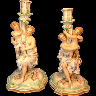 Women with Cherubs Putti Figural Candlesticks Germany