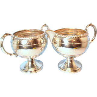 Fisher Silversmiths Sterling Footed Creamer and Open Sugar Bowl