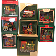 Hallmark Tin Locomotive Christmas Ornament Set