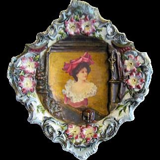 Austrian Majolica Portrait Porcelain Wall Plaque
