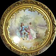 LRL Limoges Signed Muville Porcelain Plaque in Gilt Wood Frame
