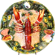 Palissy Majolica Caldes Da Rainka Mendes 23628 Stamped 489 Lobster Plate
