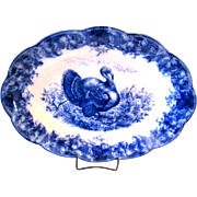 Wedgwood 16 Inch Flow Blue Turkey Platter
