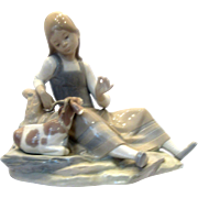 Lladro #4756 Girl with Goat Figure Retired 1978