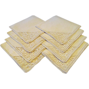 Eight Linen Dinner Napkins With Needle Lace Corners