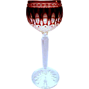 Waterford Ruby Cut to Clear Clarendon Hock Wine Goblet