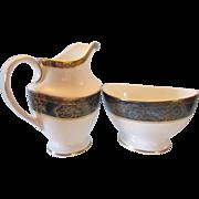 Royal Doulton China Carlyle Cream Jug and Open Sugar Bowl